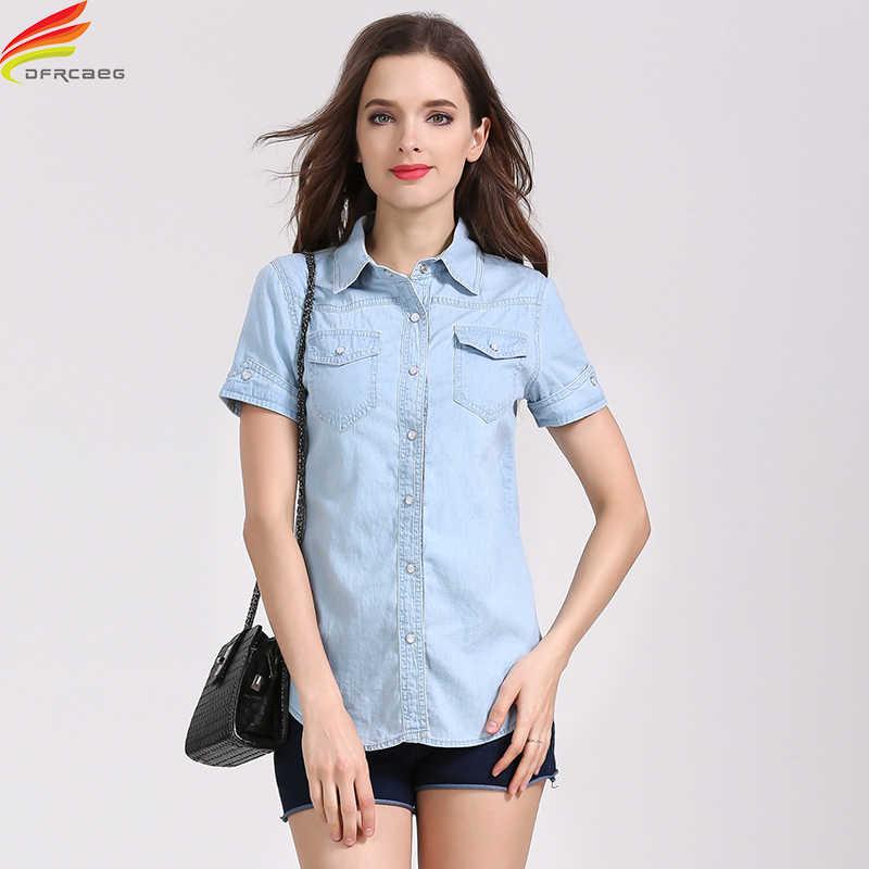 ec7d512b ... Denim Shirts Women 2018 Summer New Short Sleeve Double Pockets Casual  Jean Shirt Women 2 Colors ...