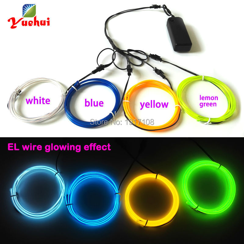 Flexible EL wire tube rope of 4pieces 1M 3.2mm multicolor electroluminescent wire with 3V inverter for DIY clothes Wedding decor