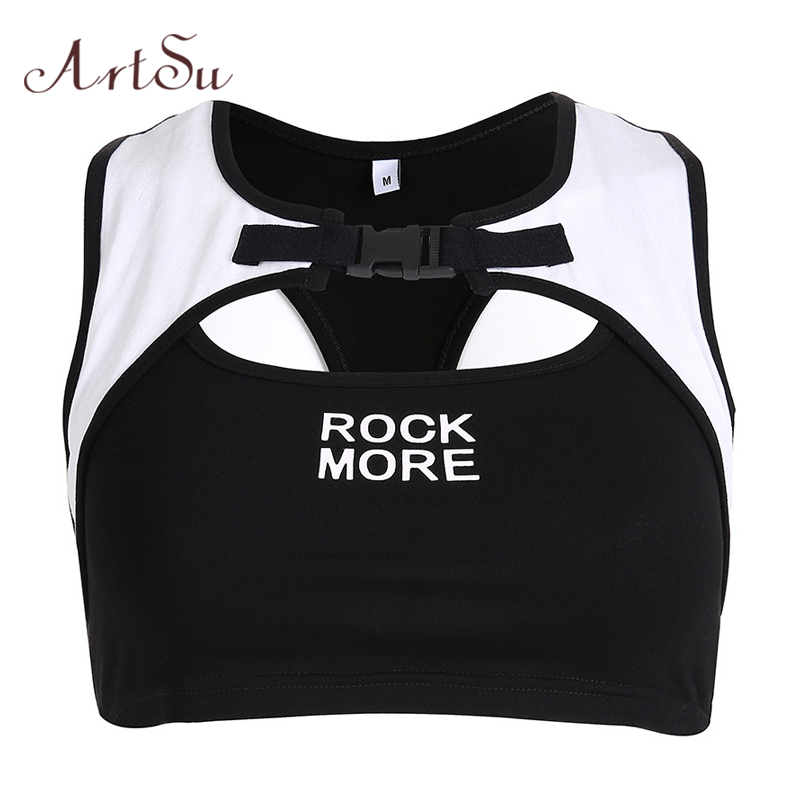 ArtSu Streetwear Patchwork buckle   top   Sexy Workout Crop   Top   Black Letter Print Sleeveless   Tank     Top   Women Bralette ASVE20451