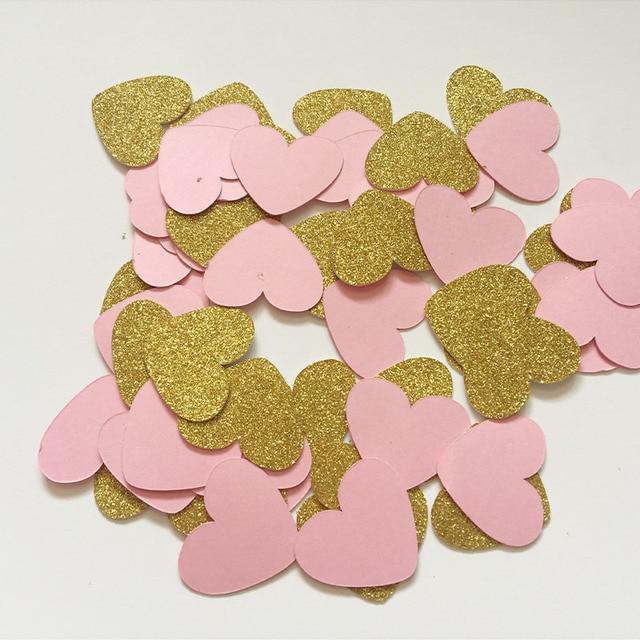91d56973c Pink & Gold Glitter Heart Confetti Bridal Shower/Wedding Decor Baby Shower  Birthday Party Dinner