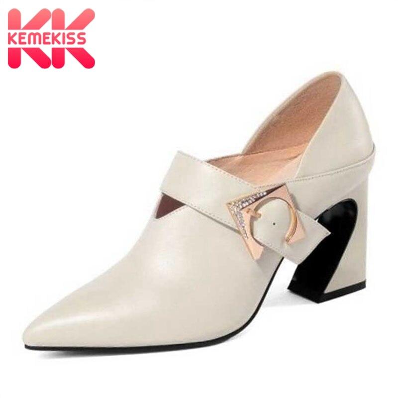 Réel Taille Boucle Beige noir Bout Pointu Bureau Chaussures D'affaires Haut Fomal En Cuir Véritable Kemekiss Pompes Talon Femmes 3339 Métal nP0O8XNwZk