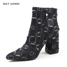 Denim Thick High Heels Women Boots Holed Ankle Boot 2019 Autumn  New Fashion Pointed Toe Lady Shoes Ripped Summer Footwear wetkiss denim high heels women boots zip round toe footwear fashion stretch female boot ripped knee high shoes women 2018 winter