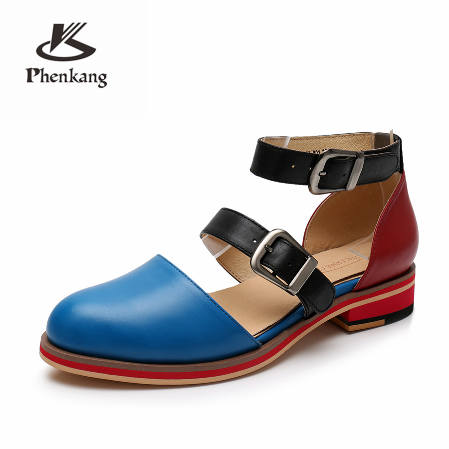 Genuine sheepskin leather brogue yinzo lady flats Sandals shoes vintage handmade oxford shoes for women 2019 spring red blue-in Low Heels from Shoes    2