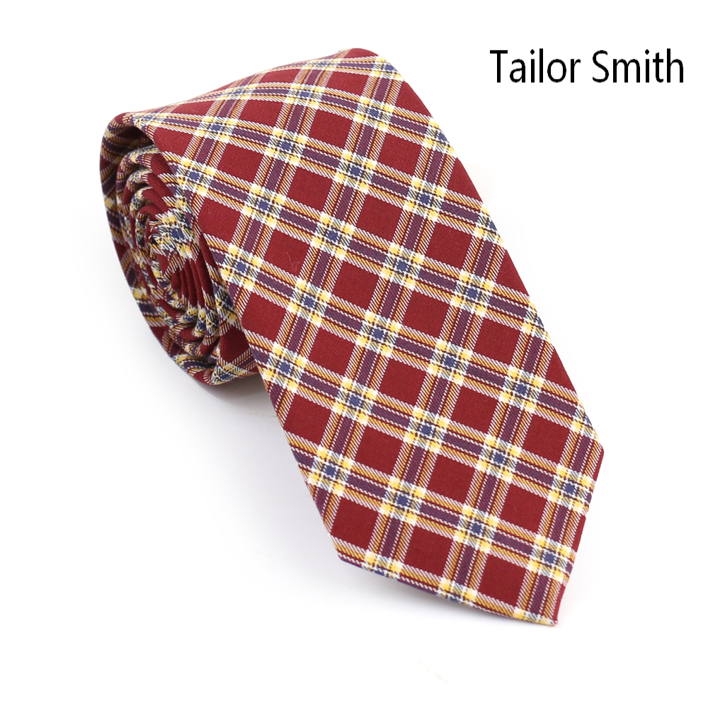 Tailor Smith Cotton Check font b Tartan b font Skinny Style Necktie Fashion Slim Casual Party