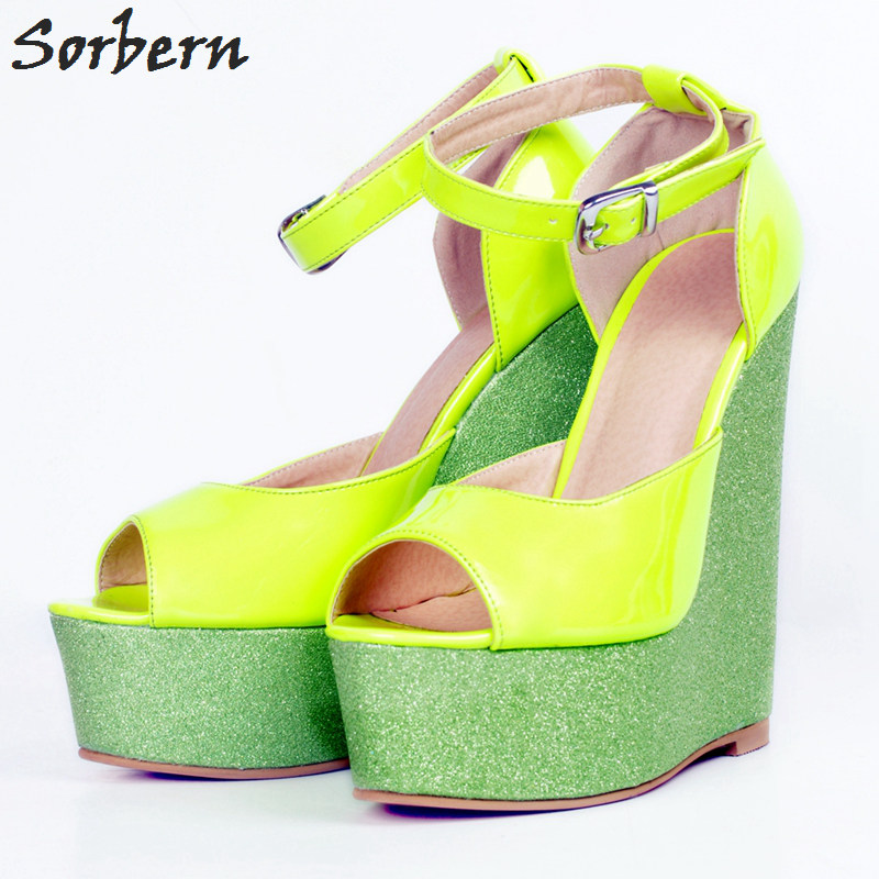 Sorbern Women Platform Wedges Pumps Shoes Plus Size Big Sexy High Heels Buckle Strap Peep Toe Zapatos Mujer Platform Shoes lady elegant sexy big size 4 17rhinestone peep toe pu buckle strap thin high heels women shoes pumps sandals girls summer style