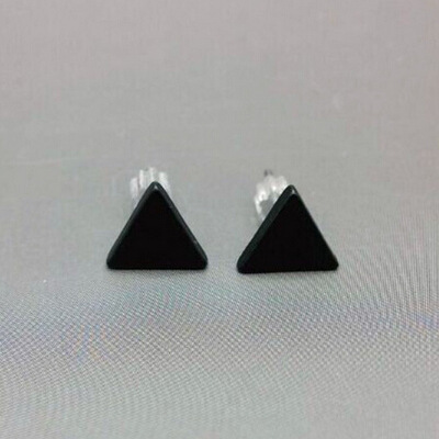 2pair/lot black Silver Color  western triangle round flash stud earrings