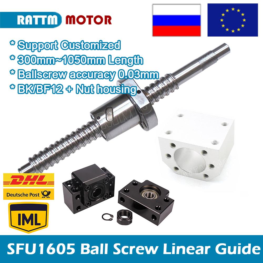 1605 Ballscrew 300 500 600 <font><b>800</b></font> 1050mm SFU1605 C7 with end machined nut housing BK/BF12 for router machine Linear Guides image