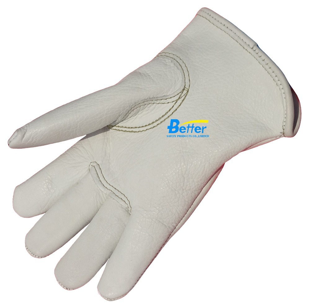 Leather palm work gloves wholesale - Work Gloves Top Natural Colour Grain Calfskin Leather Driver Work Glove Deluxe Comfoflex Palm Reinforced Welding