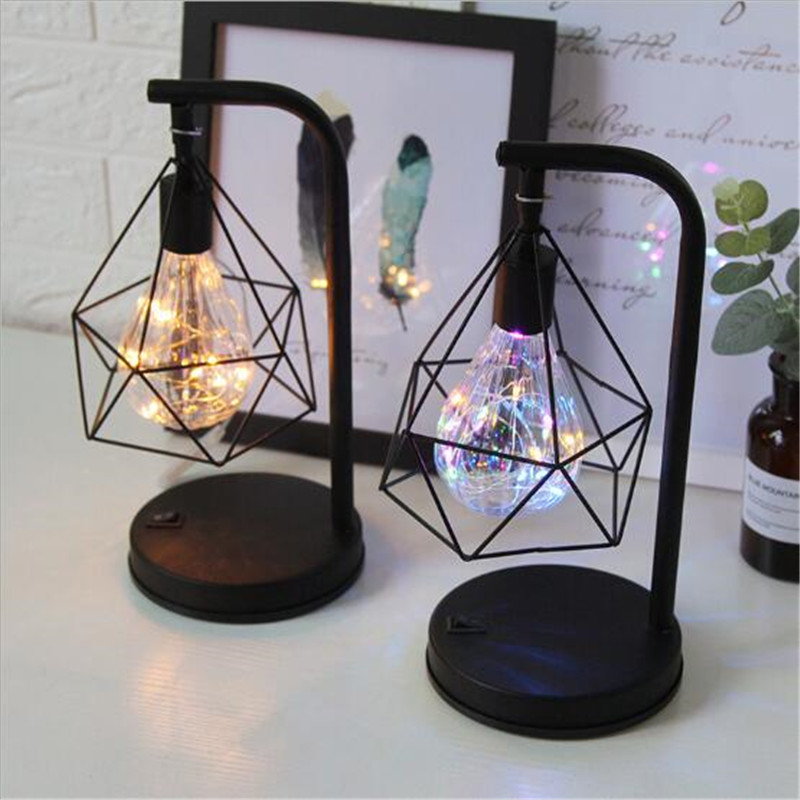 Retro Iron Art Minimalist Table Lamp AA Battery Hollow Diamond Shape Reading Lamp Vintage NightLamp For Bedroom Bedside Lighting