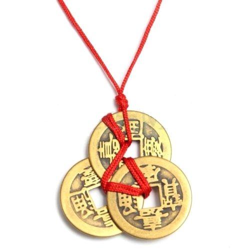 c05db512d5a EatingBiting (R) Boa Sorte Moedas Chinesas Tradicional Feng Shui Riqueza  Fortuna Moeda Corrente de