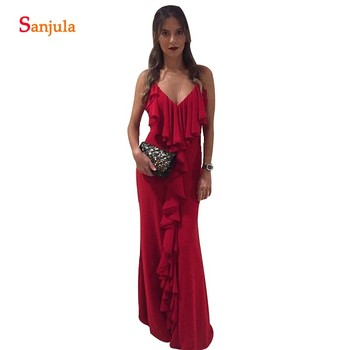 Wine Red Bridesmaid Dresses With Ruffles Sheath V-neck Spaghetti Straps Long Wedding Party Gowns Maid Of Honor Dresses BY27