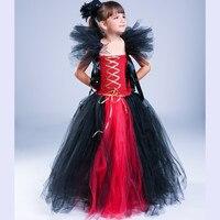 Handmade New Girls Halloween Costume Witch Cosplay Tutu Dress Kids Baby Toddler Princess Tulle Dress Festival Birthday Dresses