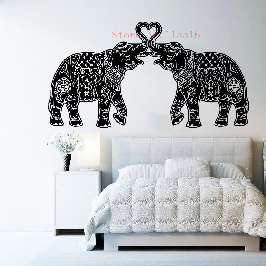 E432 Wall Stickers Home decor DIY poster Decal mural Vinyl Elephant Indian Namaste Om Mandala Ornament Moroccan Pattern Yoga