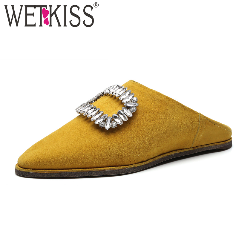 WETKISS Leather Women Slippers Pointed Toe Crystal Footwear Slides Shoes Flat Sole Casual Lady Slipper Summer Woman Mules Shoes pointed toe flat mules