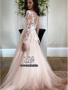 Image 2 - Long Sleeves Wedding Dress Vestido De Noiva Wedding Gowns 2020 Lace Appliques A Line Bridal Dresses with Pockets
