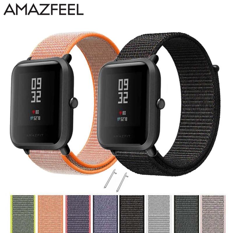 AMAZFEEL Nylon correa para Amazfit reloj colorido lazo de Nylon tejido pulsera Braclet para Amazfit BIP ritmo STRATOS reloj