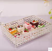 Fashion decorative metal crystal tray mirror tray wedding decoration supplie metal serving tray decorative trays FT013