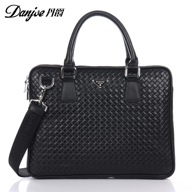 DANJUE Business Men Briefcase Genuine Leather Knitting Handbags Fashion Trendy Laptop Bag Real Cow Skin Shoulder Messenger Bags