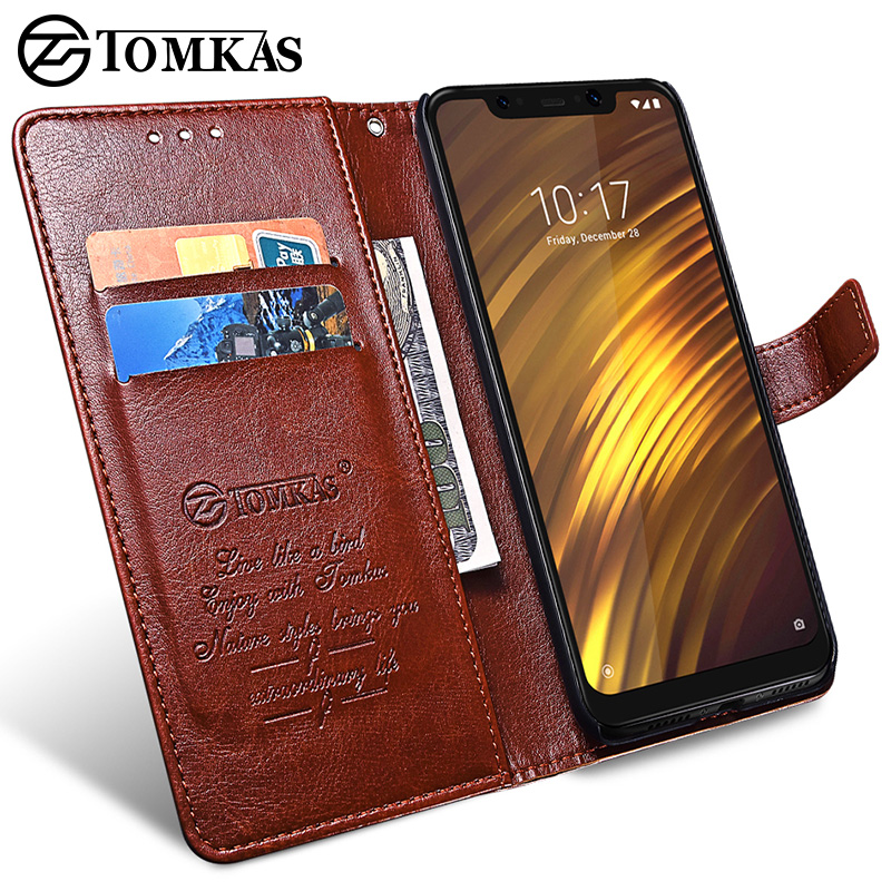for Xiaomi POCOPHONE F1 Case Cover Global POCO F1 Wallet Leather Cover Protective Phone Cases TOMKAS Original POCOPONE F1 Case  (China)