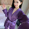 Womens Robes 2016 New Arrival Stain Robes Pijamas With Waistband Bathrobes High Quality Knee Length Sleepwear Hot Sale