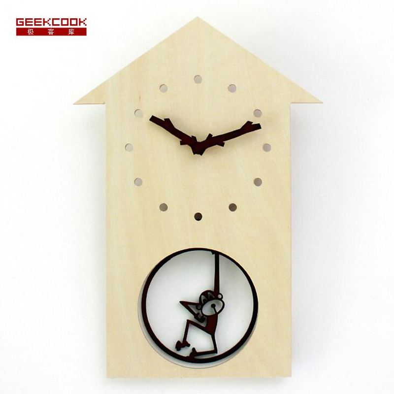 5mm mdf wooden pendulum wall clock cartoon happy swing monkey quartz wall clock for kids bedroom - Pendulum Wall Clock