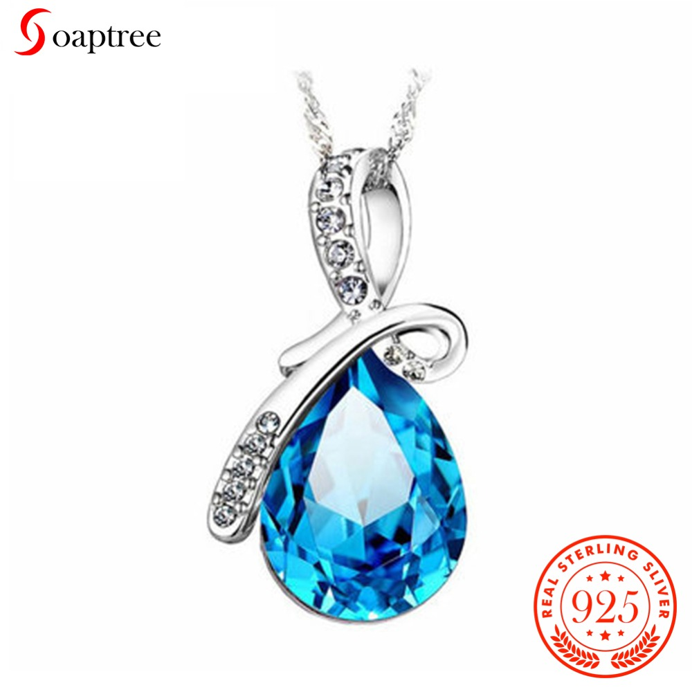 Soaptree Austrian Crystal Neaklace & Pendants 925 Silver Jewelry Clavicle Necklace Angels Tear Women Wedding Fashion Jewelry