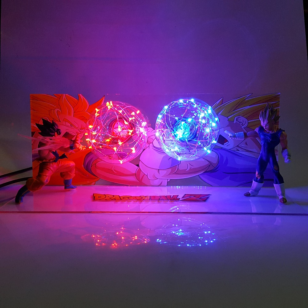Dragon Ball Son Goku VS Vegeta Led Luci notturne lampada Da Tavolo Dragon Ball Z SUPER Saiyan Dbz LAMPARA Notturna Di Natale
