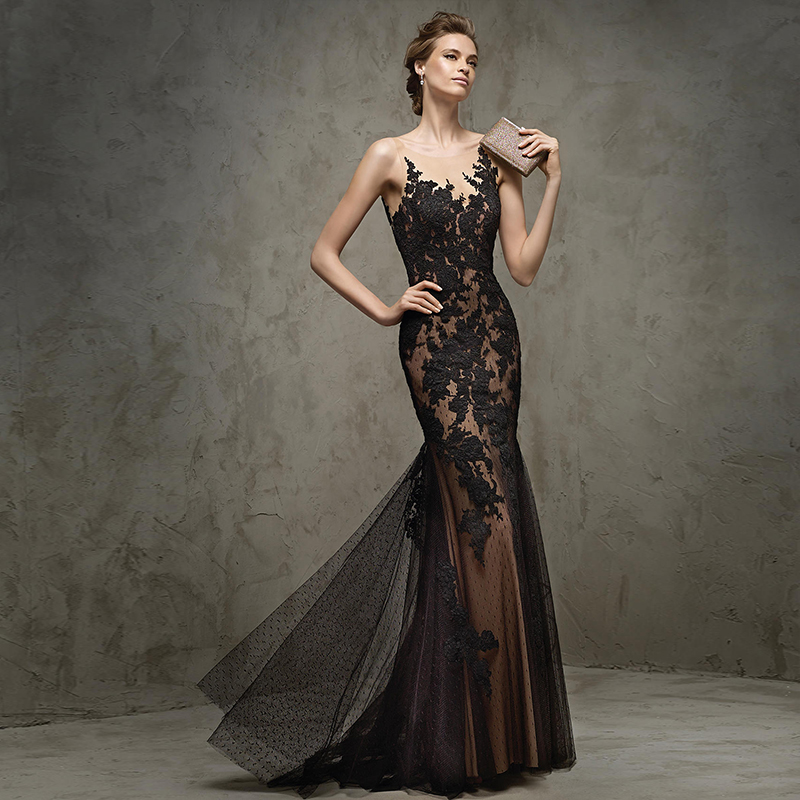 2017 Double Shoulder Black Lace Fish Tail Evening Dress Banquet Dinner Long Slim Design Prom Dresses In From Weddings Events On