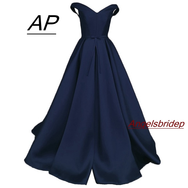ANGELSBRIDEP Cap Sleeve 1950 s V Neck Prom Dress Abendkleider Pleated Satin A Line Floor Length