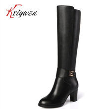 Small size 31-45 Winter 7cm high heel 100% genuine leather knee high boots black female pointed toe shoes work motorcycle botas