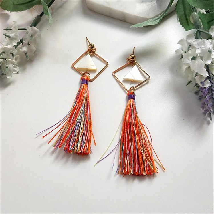 Vintage Bohemian Crystal Long Silk Tassel Earring Women Rhinestone Charm Stainless Steel Dangle Drop Earrings Boho Jewelry