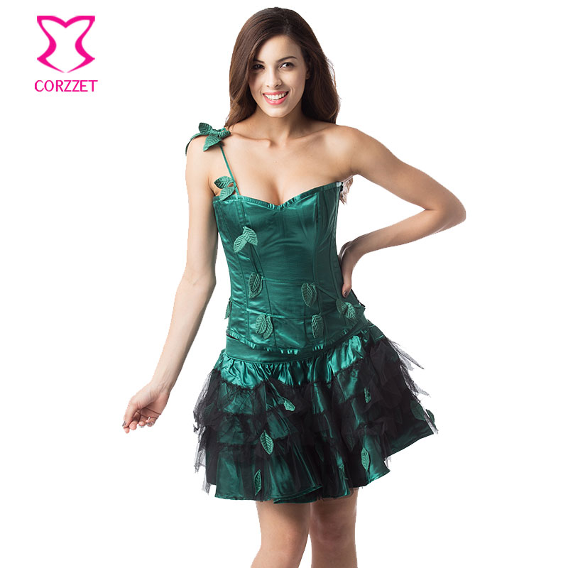 Green Satin Leaf Appliques Christmas Corset Dress Women Plus Size Steampunk Corset Skirt Sexy Gothic Dress Burlesque Costumes