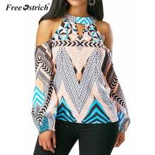 Blusa com estampa geométrica ombro fora, feminina, estampa geométrica, gargantilha, ombro frio, boêmia, a1040