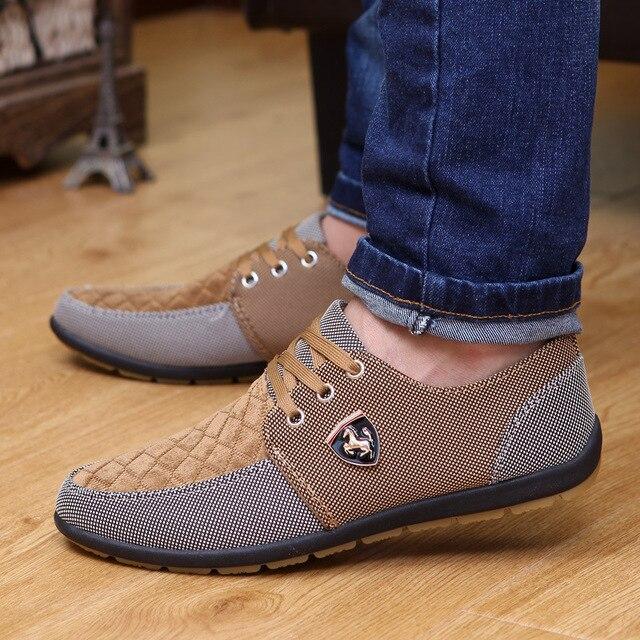 Mężczyźni buty moda płócienne buty dla mężczyzn obuwie letnie oddychające żółte Comfortbale espadryle trampki płaskie buty męskie duże rozmiary
