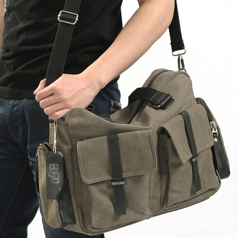 e268cc16876 2018 European and American style men canvas cotton laptop bag handbag men s  briefcase bag men s messenger bags