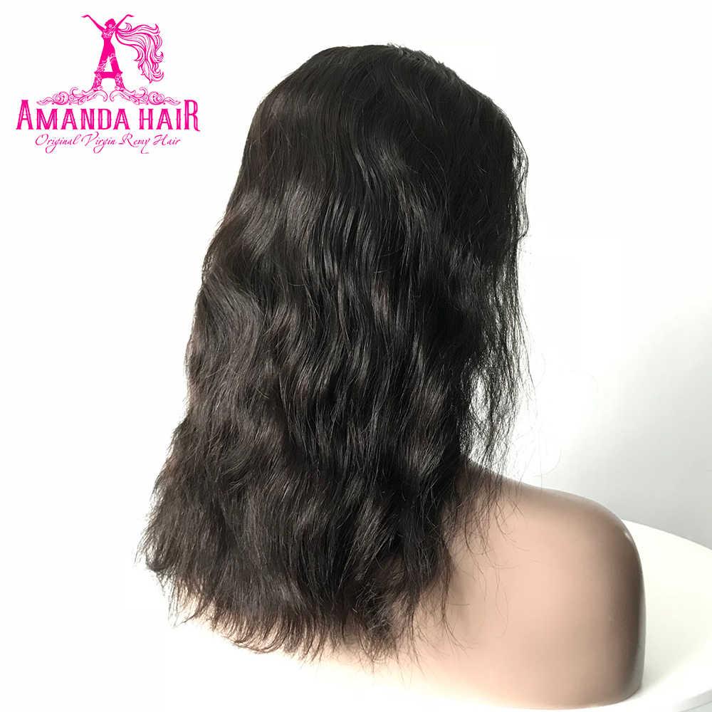Перуанские парики на шнурках, волнистые волосы для тела, 10-16 дюймов, 150% плотность, короткие человеческие волосы, парики на шнурках для черных женщин