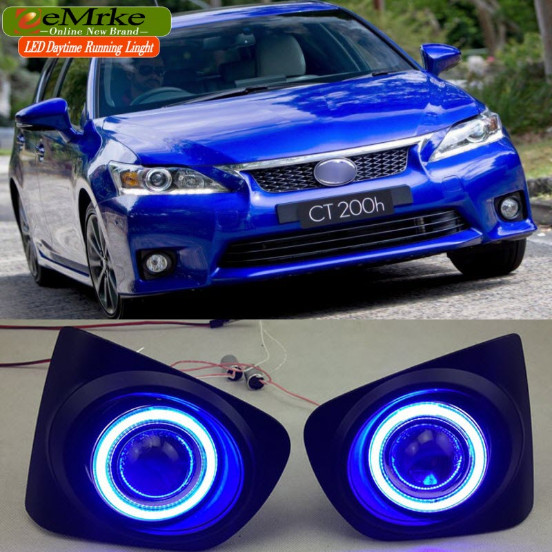 Car-Styling Daytime Running Lights For Lexus CT220h CT 200h F Sport COB Angel Eyes DRL Fog Light Halogen Bulbs H11 55W for lexus rx350 rx450h 2010 2013 car styling led angel eyes drl led fog lights car daytime running light fog lamp with bulbs set
