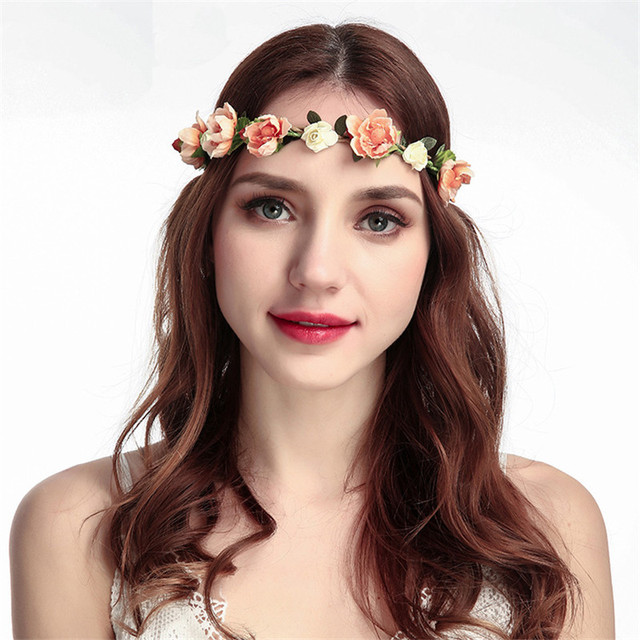 Haimeikang Women Bride Flower Headband Bohemian Style Rose Crown Hairband Las Elastic Beach Hair Accessories