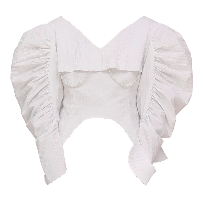 Vintage Corta Entallada Cuello Camisa Irregular White Manga Ropa De Primavera Blanco Perlas V Moda 2019 Blusa Cintura Mujer Puff Womenff261 TBPTwqS