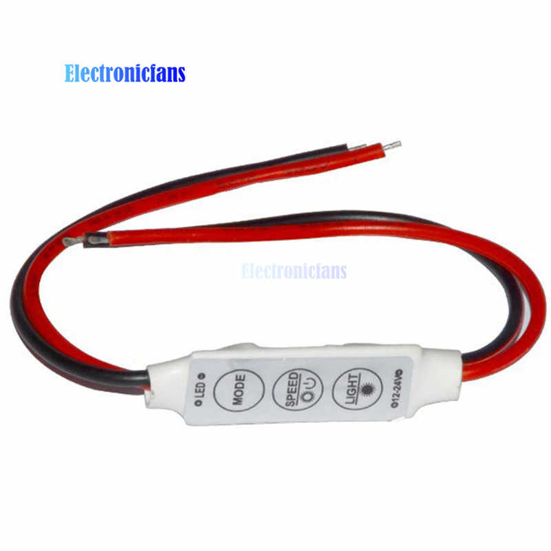 Mini 3 مفاتيح وحدة تحكم لخاصية تخفيض الإضاءة 12 فولت للون واحد 5050 3528 شرائط مصباح LED