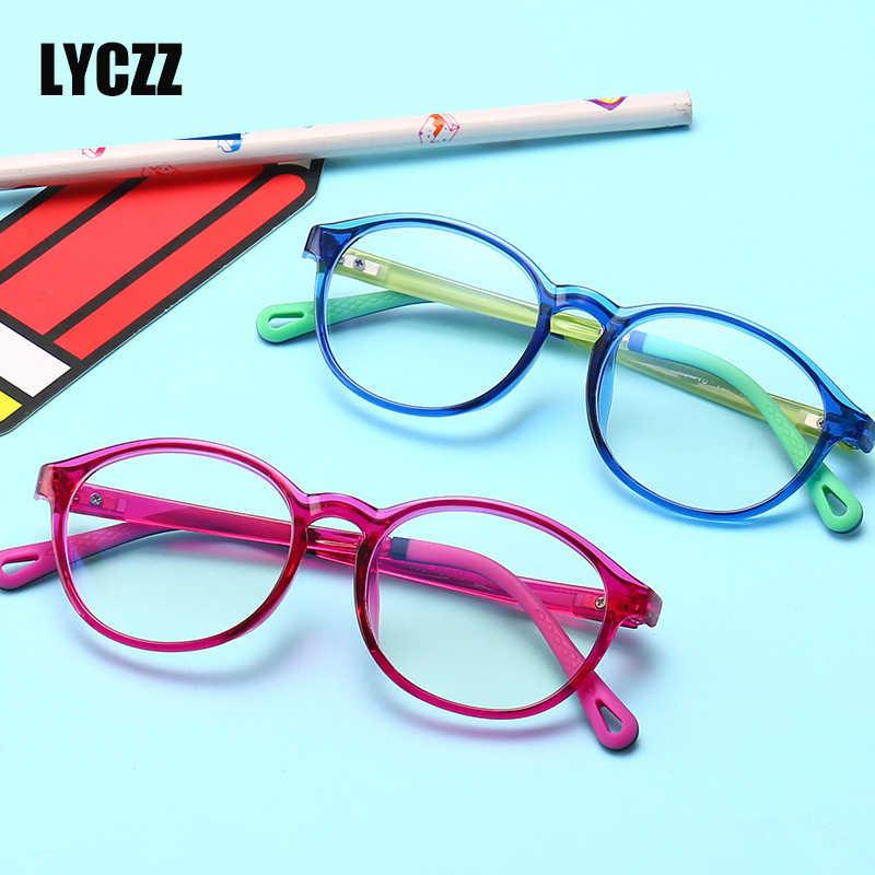 LYCZZ Marca TR90 Flexível Crianças Armações de Óculos Criança Óculos de Proteção Anti-azul luz Menino & Menina de Prescrição Óculos de Computador Plana espelho