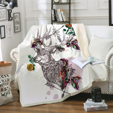 Sofa cushion Yoga mat Blanket Air Conditioner Thick Double-layer Plush 3D Digital Printed Simple Sika Deer