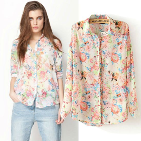 New fashion Ladies' Floral print vintage chiffon blouse womens ...