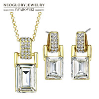 Neoglory MADE WITH SWAROVSKI ELEMENTS Crystal & Rhinestone Jewelry Set Rectangle Light Yellow Gold Color Necklace & Earrings