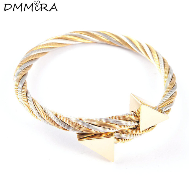 Fashion Plated Gold Cable Bracelet Stainless Steel Gold Triangle ...