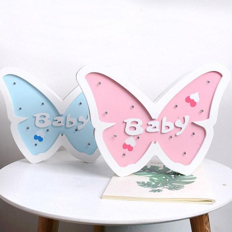 Home Furnishing Table Lamps For Living Wood Butterfly Led Desk Lamp Bar Children Bedroom Ornaments Table Lamps For Living Room