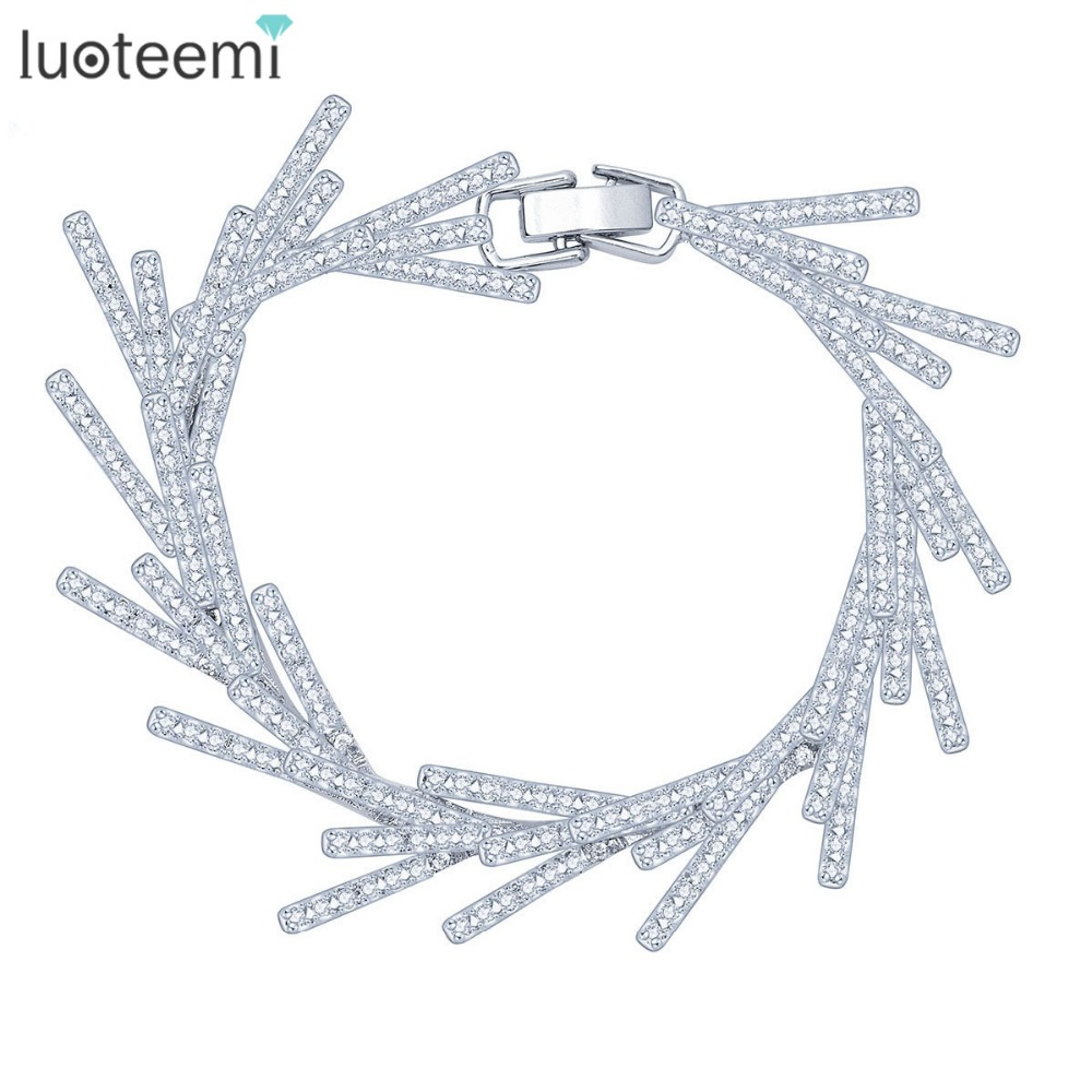 LUOTEEMI New Luxury Leaf Statement Cubic Zirconia Bracelets for Women Rhodium Plated Wedding Bridal Bracelets & Bangles