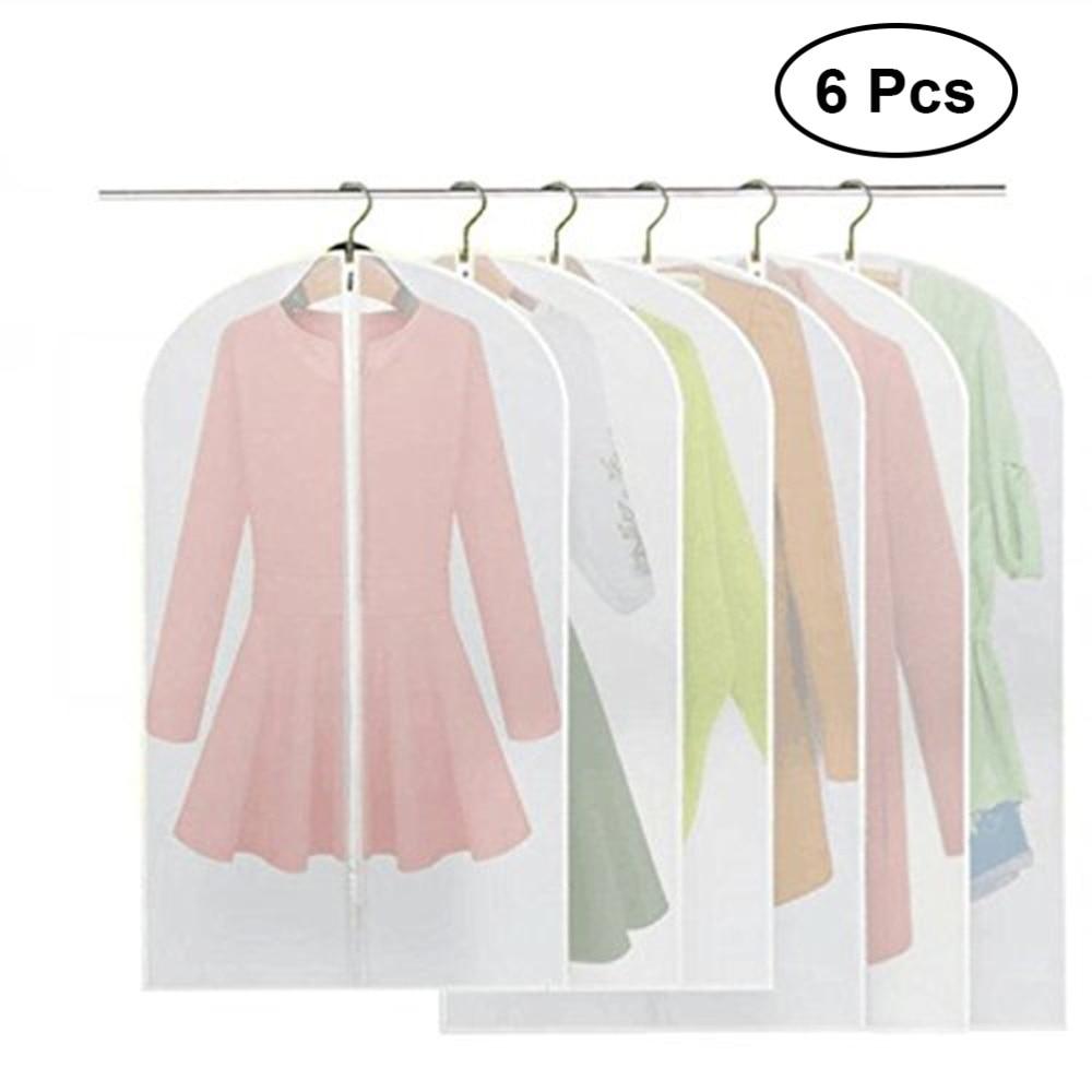 025a5d76e91fba 6Pcs Frosted Suit Garment Cover Bag Protector with Zipper Suit Garment  Closet Organize Clothes Storage Bag