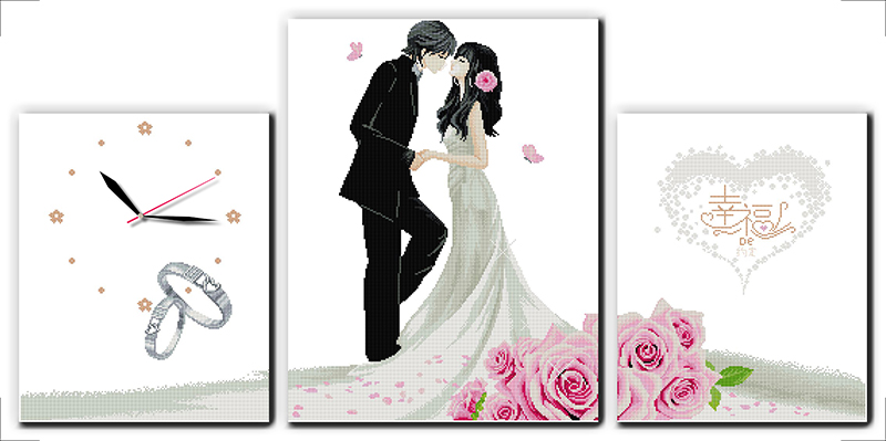 Industrious Happy Engagement Cross Stitch Kit 14ct 11ct Count Print Canvas Wall Clock Stitching Embroidery Diy Handmade Needlework Arts,crafts & Sewing