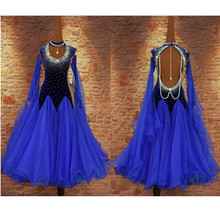 woman Exquisite blue velet hand-sewn rhinestone standard ballroom/waltz/tango/foxtrot modern dance national competition dress